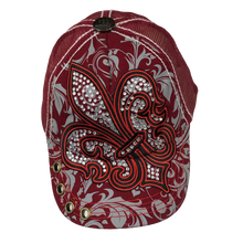 Adult Rhinestone Fleur de Lis Cap With Scroll Print - Available in Gray, Red and Maroon