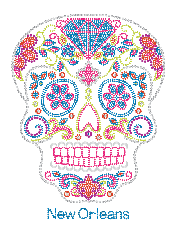 Sugar Skull Day of the Dead with Diamond and Flowers Rhinestone Tshirt