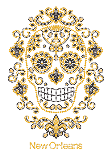 Black and Gold Sugar Skull with Surrounding Fleur de Lis Rhinestone Tshirt