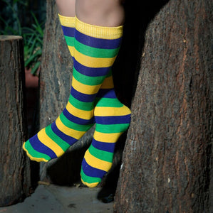 Purple Green Gold Striped Print Knee Socks