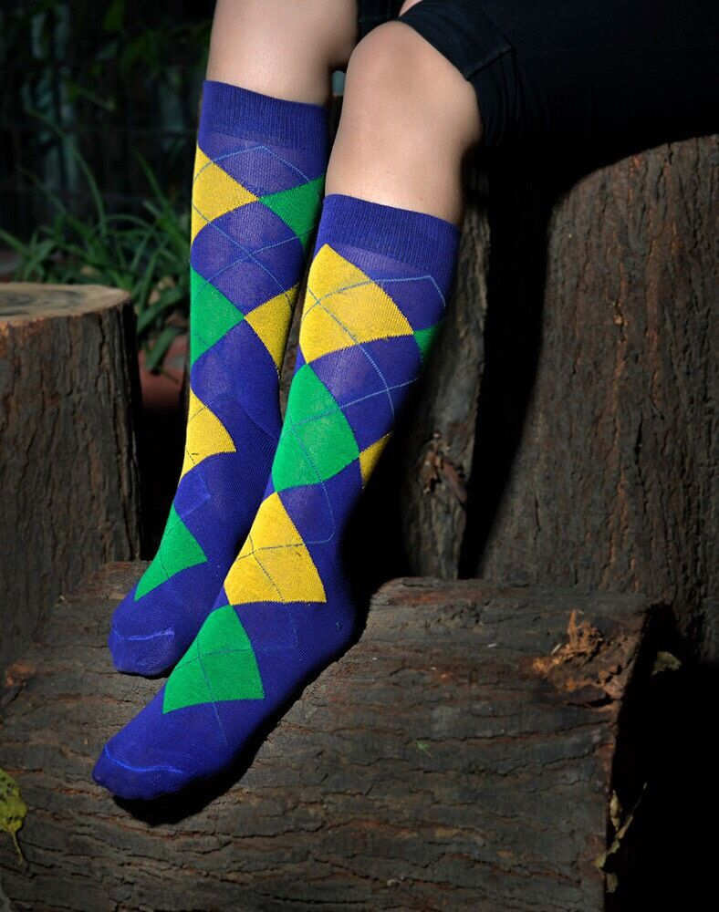 Purple Green Gold Golf Harlequin Print Knee Socks (Adults and Childrens)