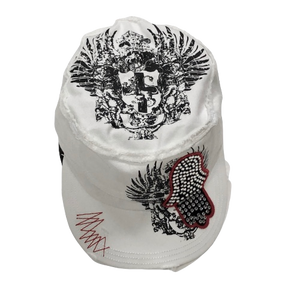 Adult White Military Style Cap with a Sequined Hamsa Symbol