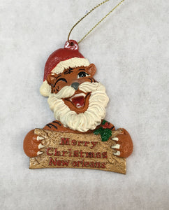 Jolly Christmas Tiger with a Merry Christmas Signboard Ornament