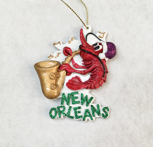 Crawfish playing Saxophone Ornament