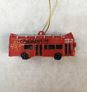 Red Sightseeing Bus Ornament