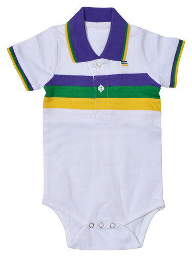 Purple Green Gold Chest Stripe Onesie