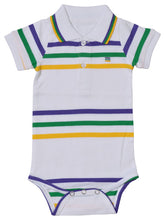 Purple Green Gold Spaced Stripe Onesie