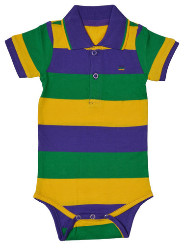 Purple Green Gold All Over Stripe Onesie