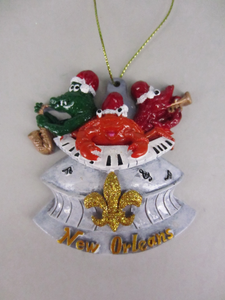 Alligator, Crab and Crawfish Superdome Ornament
