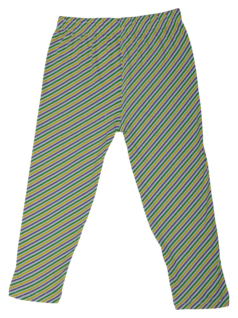 Purple Green Gold Candy Cane Print Kids Tights/Leggings