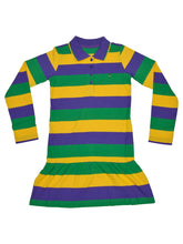 Purple Green Gold All Over Striped Kids Dress