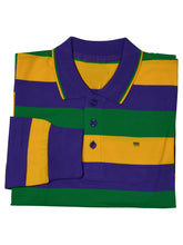 Purple Green Gold All Over Rugby Stripe Long Sleeve Kids Polo Shirt