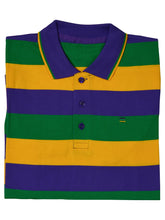 Purple Green Gold All Over Stripe Short Sleeve Kids Polo Shirt