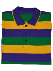 Purple Green Gold All Over Stripe Short Sleeve Kids Shirt