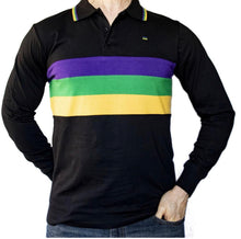 Black with Purple Green and Gold Chest Stripes Adult Long Sleeve Polo Shirt