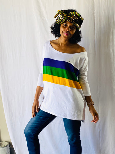 Off Shoulder White Jersey Top with Purple Green and Gold Stripes