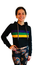 Black Crop Pullover Hoodie with Purple Green Gold Stripes