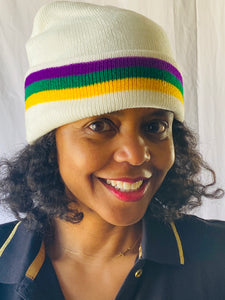 Mardi Gras White Beanie with Purple Green and Gold Stripes