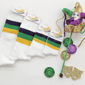 White Socks with Purple Green Gold Stripes
