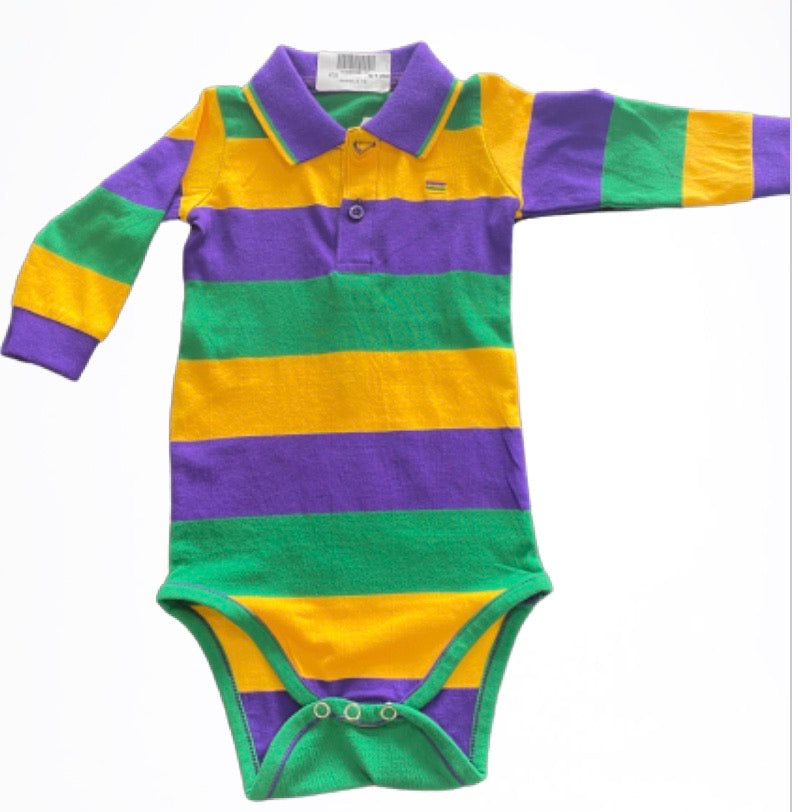 Purple Green Gold All Over Stripe Long Sleeve Onesie