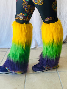Fuzzy Leg Warmers with Purple Green and Gold Stripes