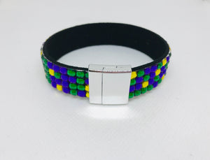 Purple Green and Gold Magnetic Leather Bracelet