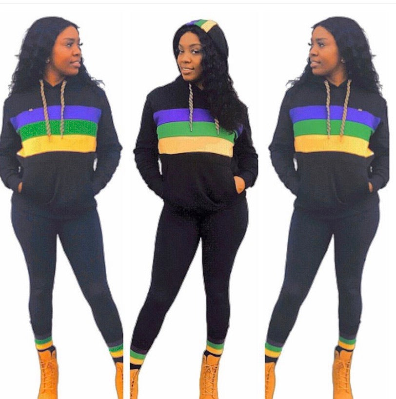 Black with Purple Green and Gold Chest Stripe Pullover Sweatshirt