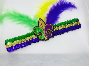 Sequin Headband with Purple Green and Gold Fleur de Lis and Feathers