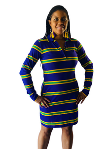 Purple Infinity Spaced Stripe Mardi Gras Women's Dress
