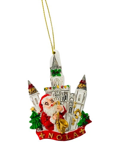 Santa by Jackson Square St Louis Cathedral Christmas Ornament