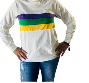 Acid Wash White with Purple Green Gold Chest Stripe Adult Long Sleeve TShirt