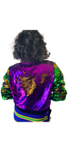 Mardi Gras Reversible Sequin Bomber Jacket