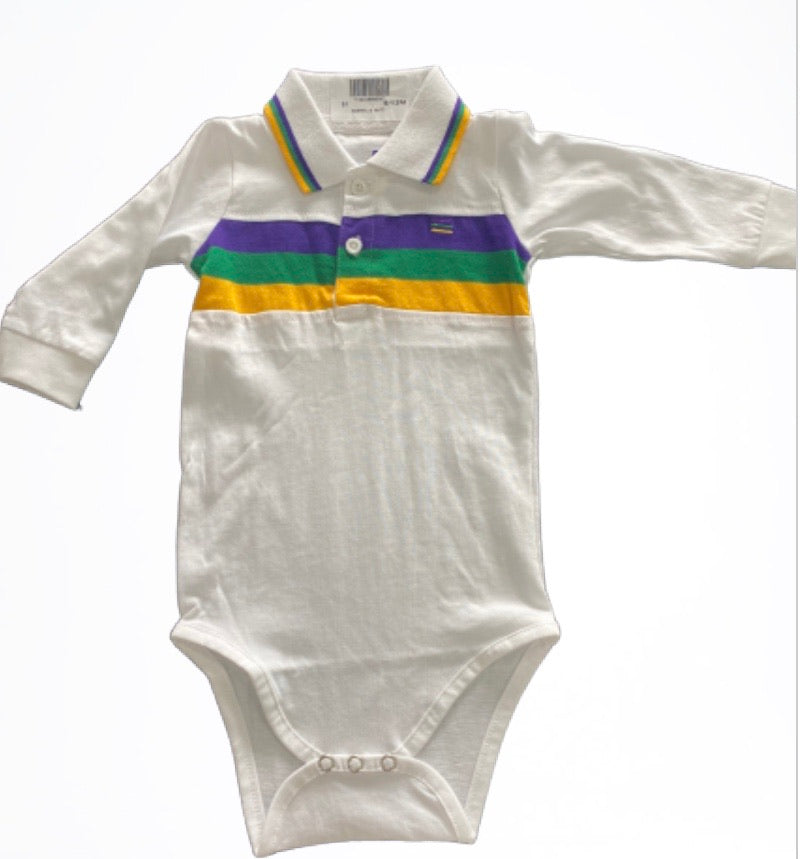 White with Purple Green Gold Stripes Long Sleeve Onesie