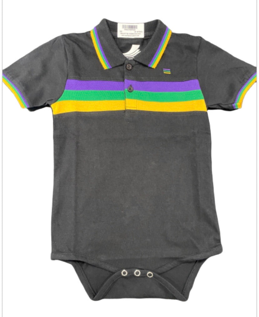Purple Green Gold on Black Chest Stripe Onesie