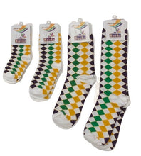 Diamond Printed Purple Green and Gold Adult Socks