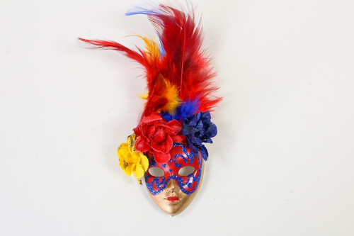 Full Face Venetian Mask Magnet with Flowers and Feathers