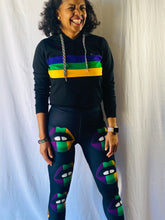 Black Crop Pullover Hoodie with Purple Green Gold Tripes