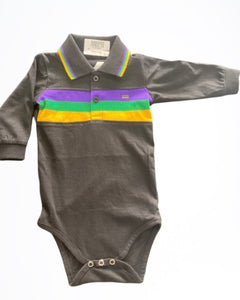Black with Purple Green Gold Stripes Long Sleeve Onesie