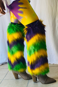 Fuzzy Leg Warmers with Multi Purple Green and Gold Stripes