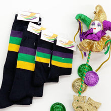 Black Socks with Purple Green Gold Stripes