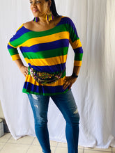 Rugby Off the Shoulder Jersey Top with Purple Green and Gold Stripes