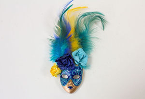 Full Face Mask Magnet with Flowers and Feathers (Multiple Colors)