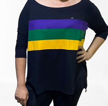 Off Shoulder Black Jersey Top with Purple Green and Gold Stripes