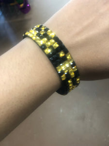 Black and Gold Magnetic Leather Bracelet