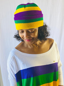 Mardi Gras Rugby Beanie with Purple Green and Gold Stripes