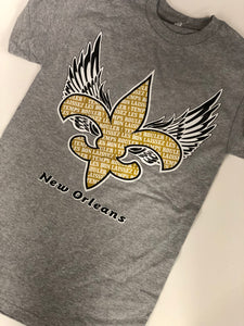 Fleur De Lis with Angel Wings T-Shirt