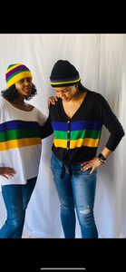 Tie Top with Purple, Green & Gold Stripes in Black or White
