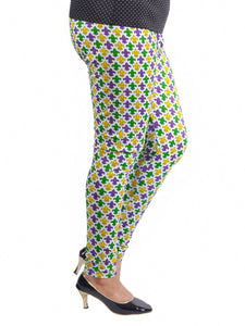 Purple Green Gold Fleur de Lis All Over Print Tights/Leggings