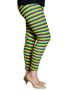 Purple Green Gold All Over Stripe Tights/Leggings