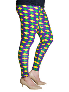 Purple Green Gold Harlequin Print Tights/Leggings